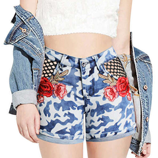 Wholesale Latest Design High Waisted Hot Pants Jeans Embroidered Roll Up Stretch Skinny Women Camouflage Denim Shorts