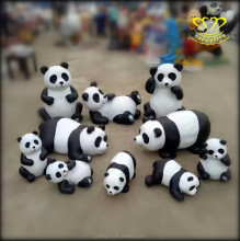 lovely panda black & white animal decor resin sculpture for sale