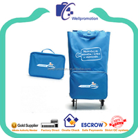 Polyester foldable shopping trolly bags on wheels