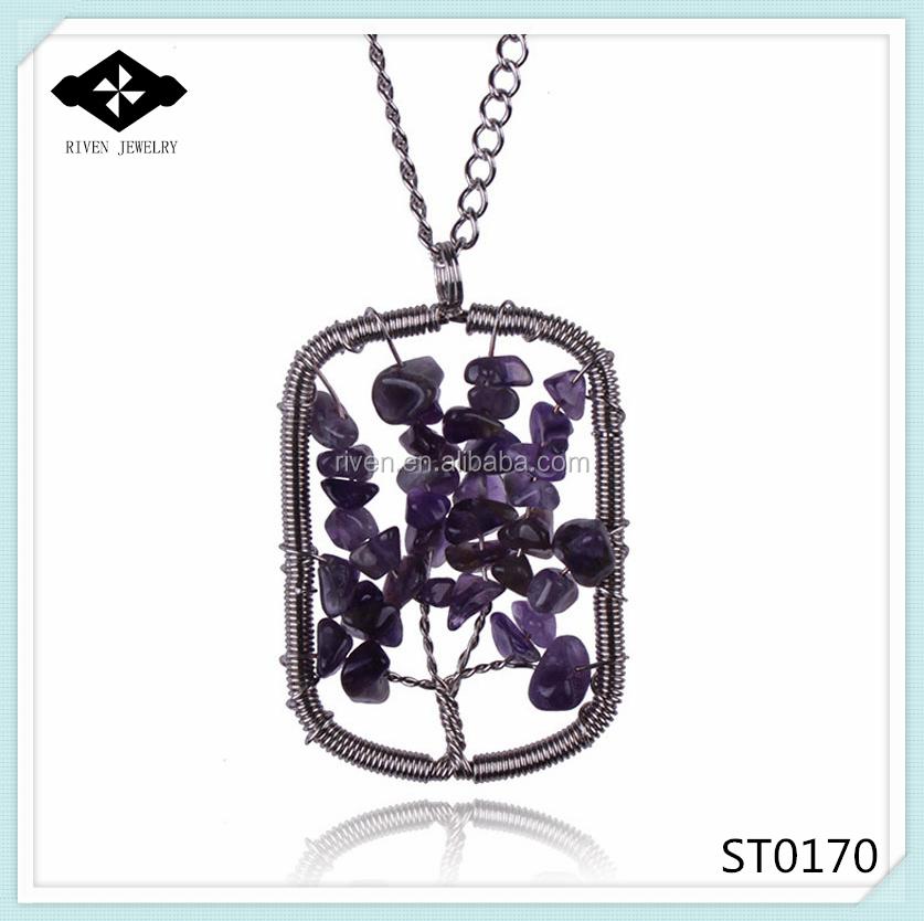 ST0170 Popular Wondrous Tree of Life Stone Amethyst Necklace Women Fashion Jewelry 2015.jpg