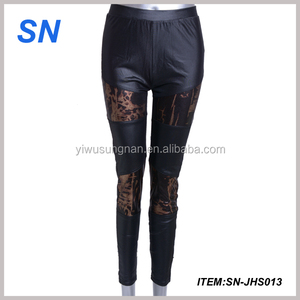 Hot Sexy Girls Black Faux Leather Leggings Good Breathable Leggings For Women