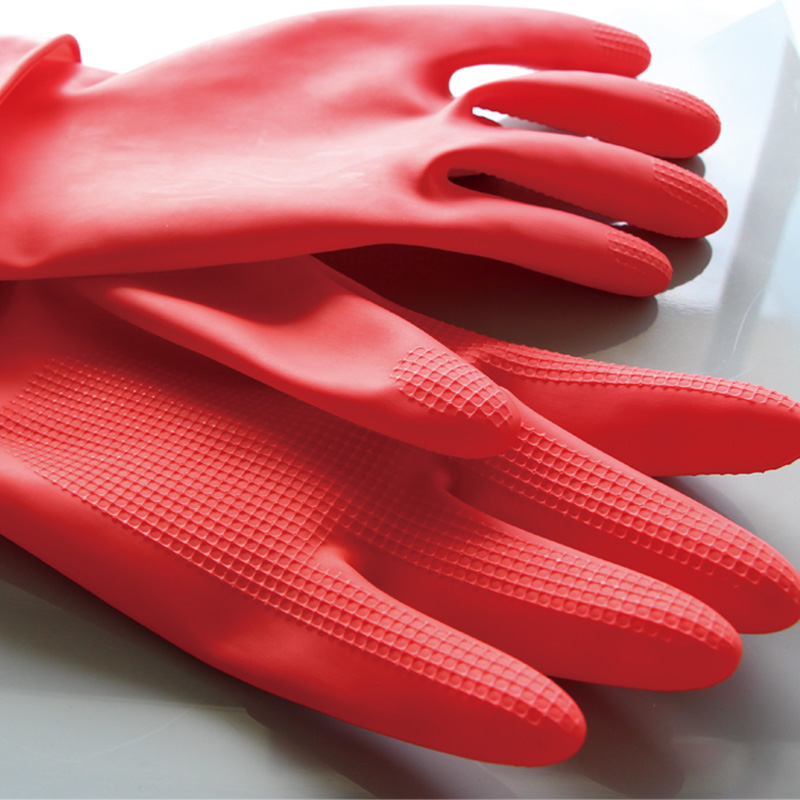 China Factory Promotion Latex Large Flock Lined Black Household cleaning toilet gloves Rubber
