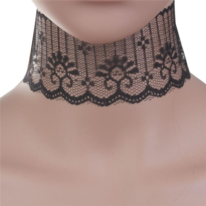 Polyester Lace Choker Necklace Black Hollow Necklace Choker Jewelry