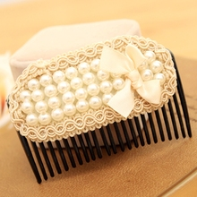Free Shipping Bow Simulated Pearl Jewelry Clips for Women Hair Combs Bridal Wedding Headdress Hair Accessories