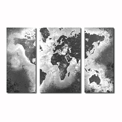 world map hotel decor 3 panel canvas painting wall art