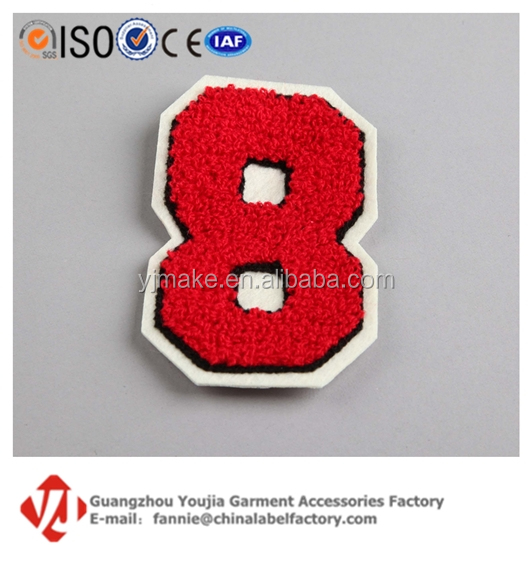 Custom Arabic Numbers Towel Embroidery Player Athlete Badge Patch