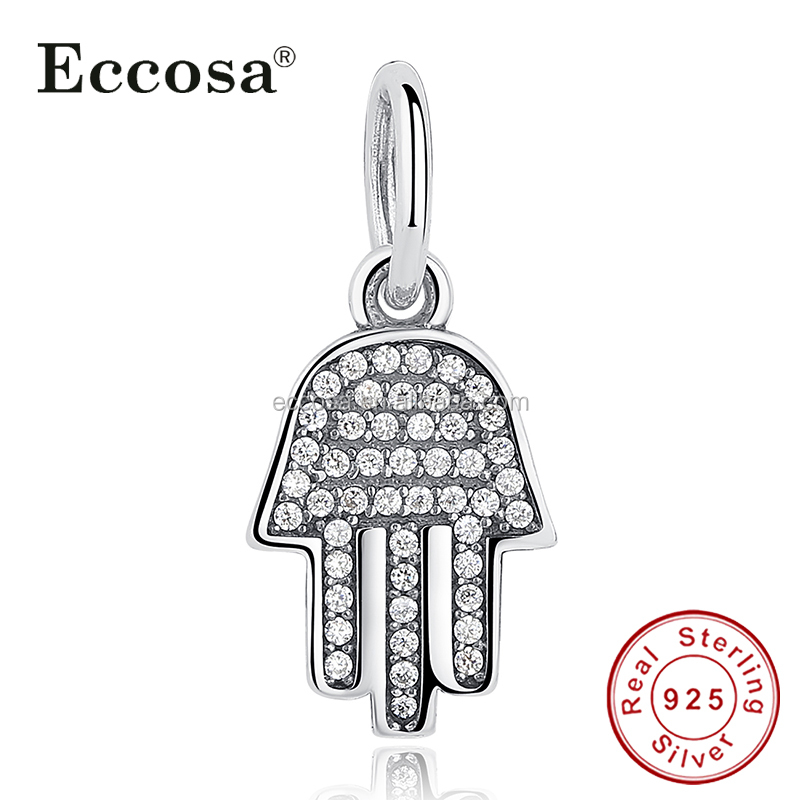 925 Sterling Silver Jewelry Gift Symbol Clear CZ Pendant Charm Fit Bracelet Palm Shaped Hamsa Hand Dangle Charms