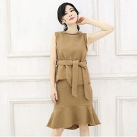 Latest winter design belt fishtail women skirts suits
