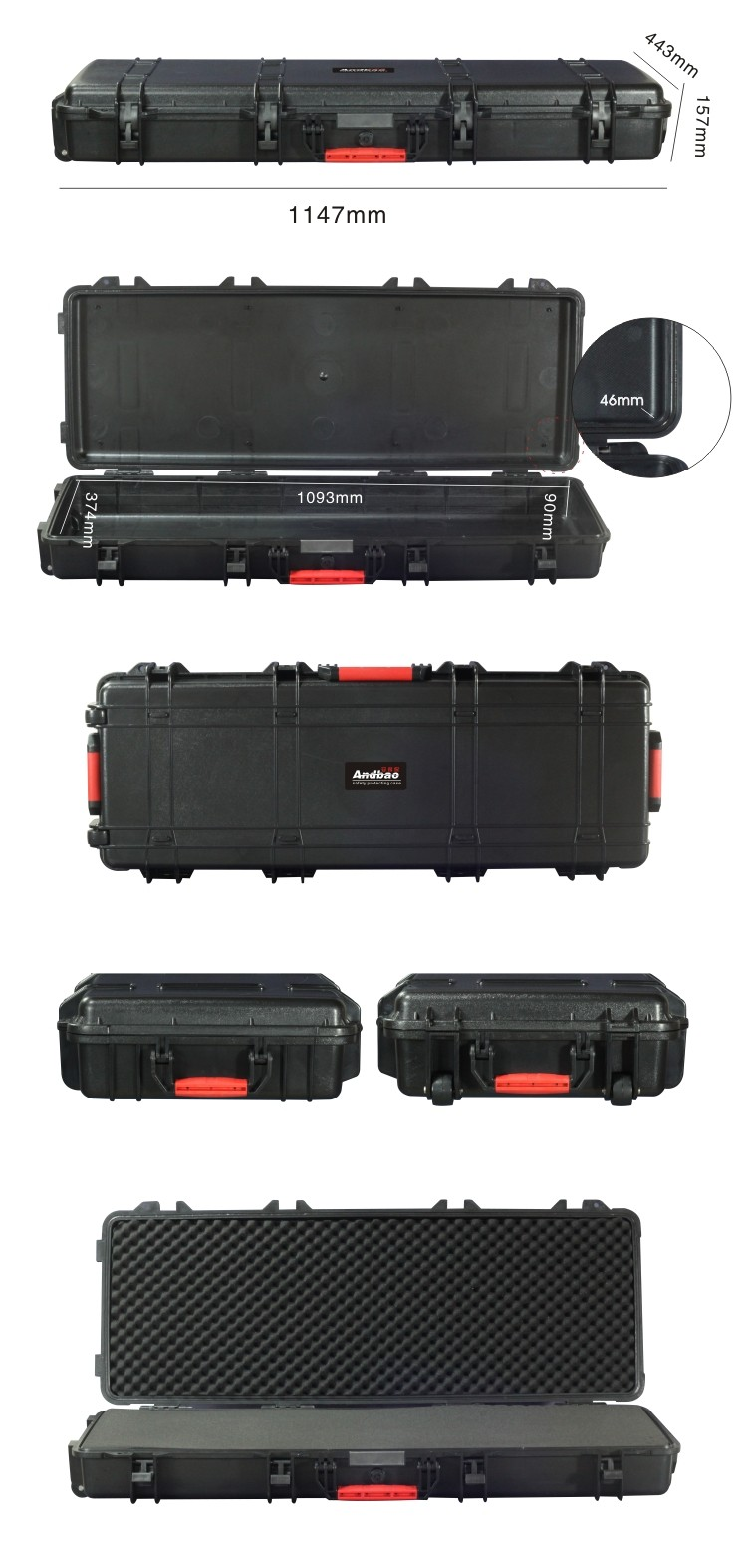 Hard ABS military gun case