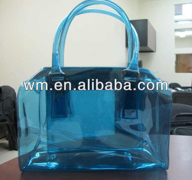 Best selling PVC transparent lady hand bag with various design