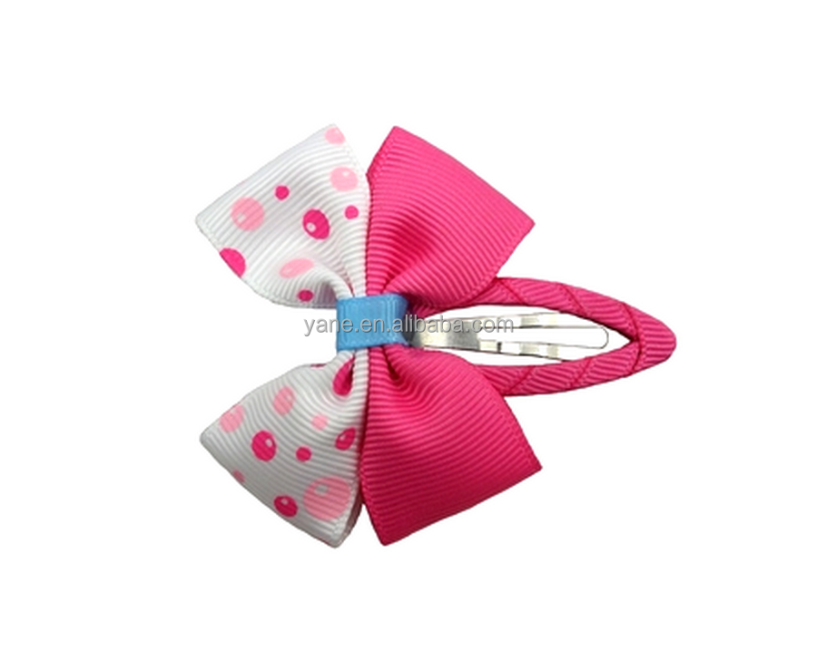 Cheapest hand made ribbon girls hair bow clips wholesale