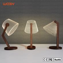 Woody OEM 3D Illusion LED Table Light Night Reading Lamp Natural Wood Lamp