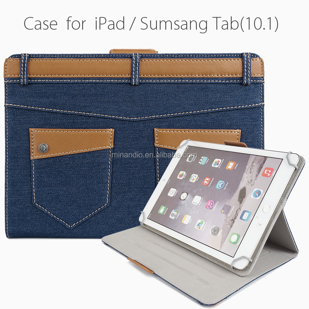 Cowboy Style Jeans/Denim Fabric With Leather Trimming Tablet Case For iPad Air2 OEM/ODM