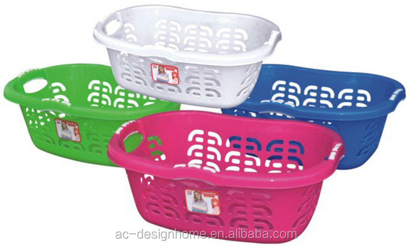 FUCHSIA, TURQUOISE, LIME GREEN, ORANGE 27L OBLONG PP PLASTIC LAUNDRY BASKET W/HANDLE