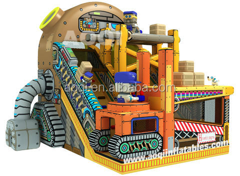 2015 new design commercial giant robot workshop inflatable water slide for sale