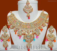 Bollywood Gorgeous Kundan Beautiful Meena Patti Multicolored Necklace Set E34