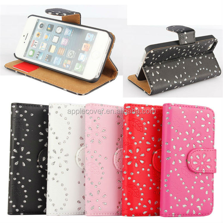 Pre-sell blingbling diamond PU leather wallet flip Case For iPhone 5 SE , For iPhone 5SE case leather
