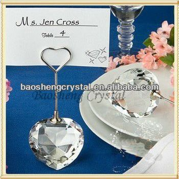 Hot Sale! Heart Shaped Wedding Crystal Place Card Holder (BS-NC018)