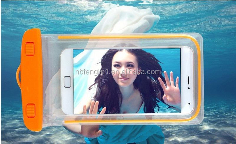 4.5 to 6 inch Universal PVC Fluorescent Light waterproof mobile phone in dubai tote bag phone raincoat