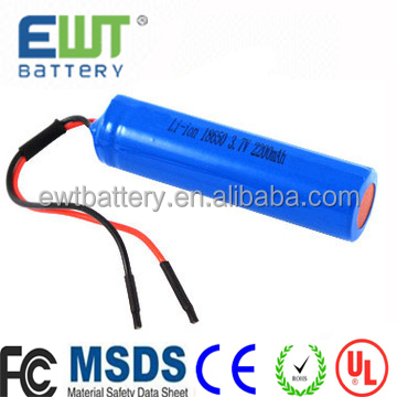 Lithium Li-Ion 18650 Lithium Ion Battery Pack 3.7V 18650 2200mAh Rechargeable PCB