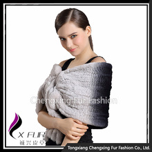 CX-B-106E Ranch Raised Rabbit Fur Ruffle Stock Good Quality Knitted Fur Shawl