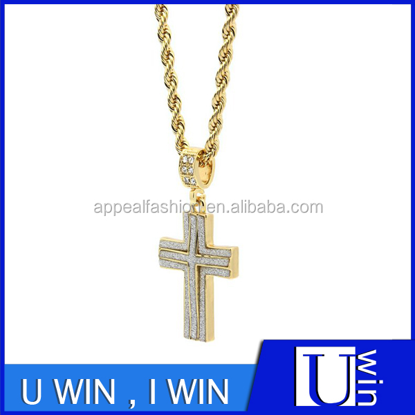 "Mens 14k Gold Plated Stardust Two Cross Thick Pendant Hip-Hop 4mm 24"" Rope Chain Necklace"