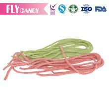 Buying in Bulk Wholesale Fruit flavour Sugar Coated Gummy Candy , Straw Shape Sour Belt Chew Candy