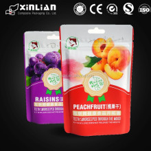 popular foil lined reclosable dried fruit bag with zipper/stand up plastic pouch/food bag with straw hole