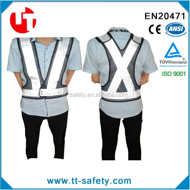 fashion high visibility blue mesh walking reflective vest