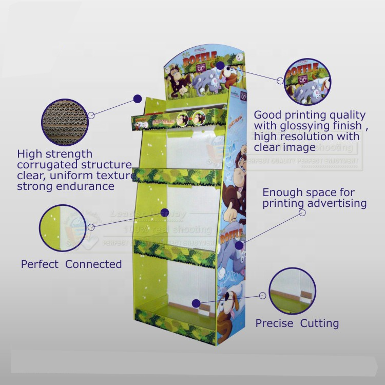 Portable Retail Custom Printed Cardboard Paper Dolls Toy Display Shelf