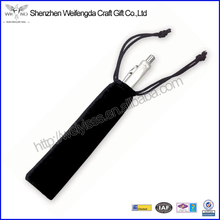 Promotional Draw String Top Black Single Velvet Pen Pouch
