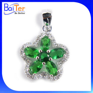 Fashion White Gold Plated Flower Shaped Cubic Zircon Pave CZ 925 Sterling Silver Lab Created Diamond Emerald Pendant