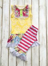 New arrival summer boutique outfits cheap wholesale ruffle clothing giggle moon remake outfits