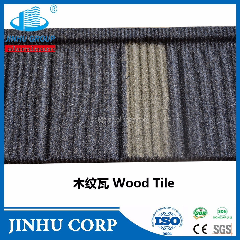JINHU manufacturer wood stone coated metal roofing tiles