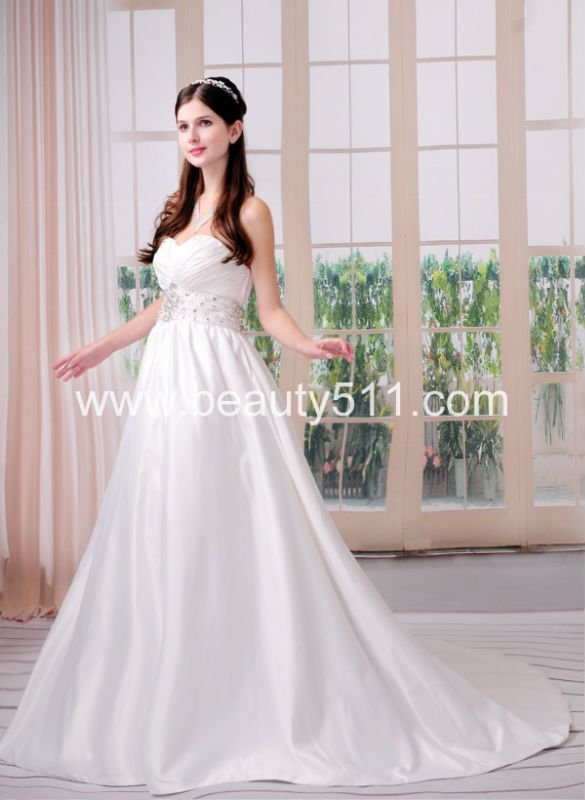 new style Astergarden Real Photo Sweetheart A-line Beading Sash Satin Bridal wedding dress AS166