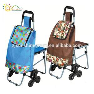 Hand trolley two wheel shopping cart with child seat