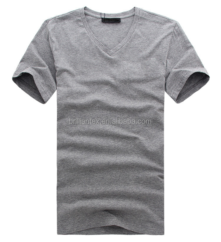 Bulk Wholesale Overseas Plain Solid Color Grey V Neck T