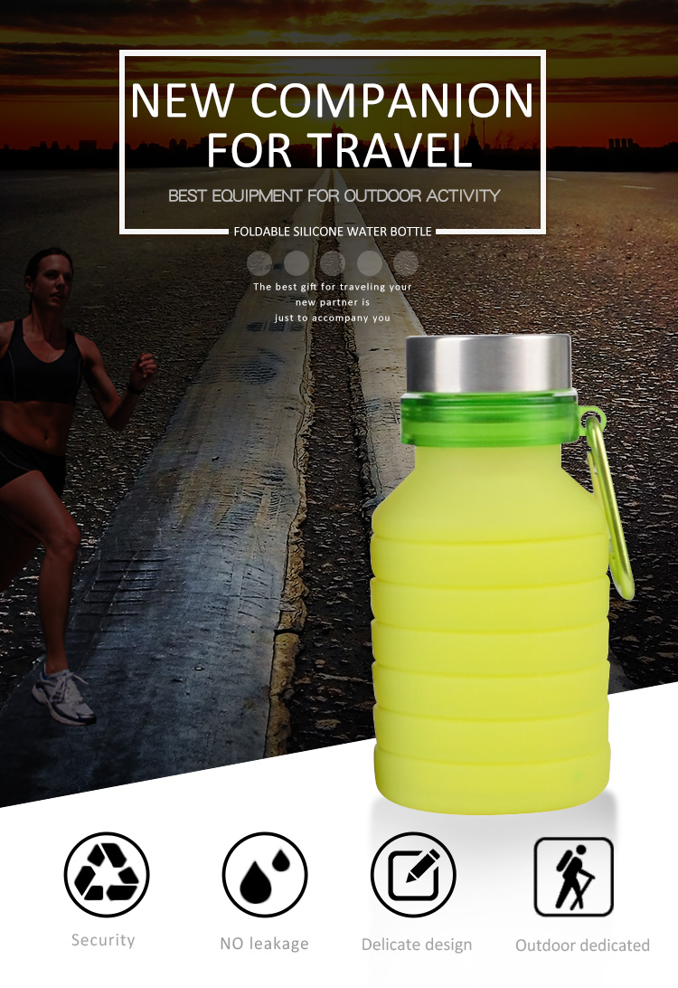 Customized Logo  BPA Free Smart Cold Bike Drinking Plastic Silicone Foldable Sports Collapsible Water Bottle