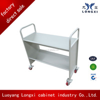 luoyang longxi Metal Library Book Carrier / Library Book Trolley / 2 Sloped Mobile Book Cart