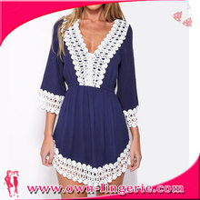 2 colors combined Simple fashion design women clothing dress from China manufacture