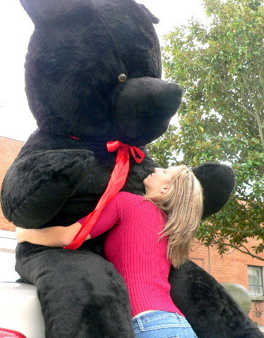A_m_e_r_i_c_an Made 96 Inch Giant Teddy Bear Black Color Fur Stuffed Soft