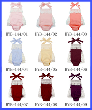 Plain Solid Color Newborn Baby Tassels Ruffles Romper Jumpsuits Cotton Yarn Blank Infant Rompers Wholesale Velour Baby Romper