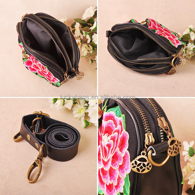 China supplier embroidery messenger bag genuine leather bag for women