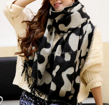 cheap wholesale big fake cashmere leopard knitted scarf