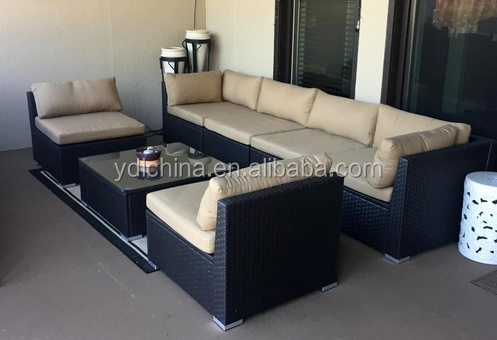 Cheap KD wicker furniture rattan garden sofa set YKD-07D