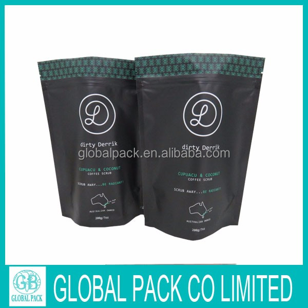 custom printing resealable doypack for packing coffee beans