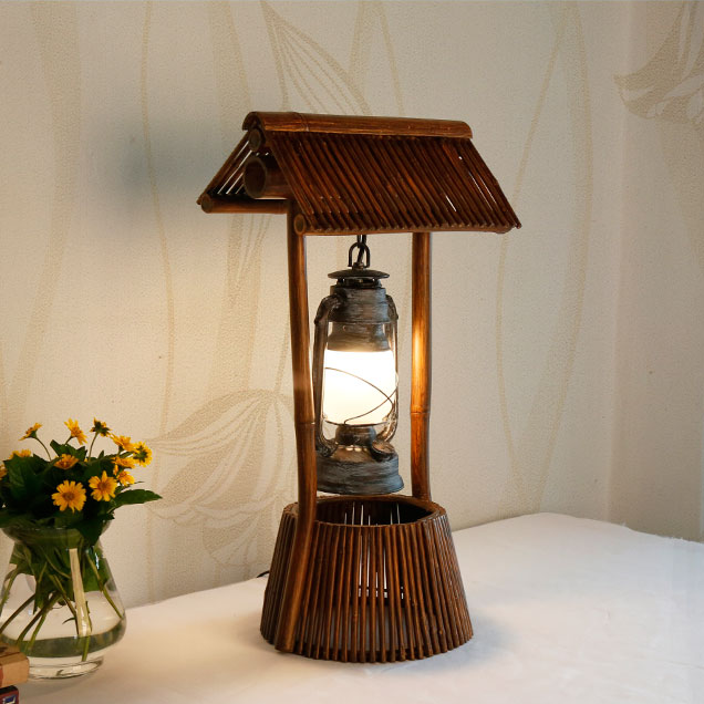 Decorative Handicrafts Hotel Bamboo Table Desk Lamp With Power Outlet