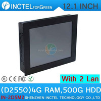 12 inch LED touchscreen all in one pc industrial computer with 5 wire Gtouch dual nics Intel D2550 4G RAM 500G HDD