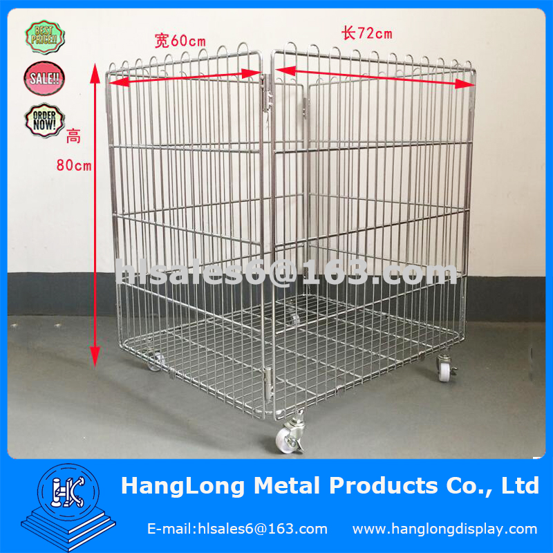 Zinc Or Chrome Plated Folding Metal Wire Cage With Wheels