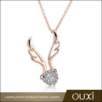OUXI Korean Style zircon gold plated angel wing necklaces 11269